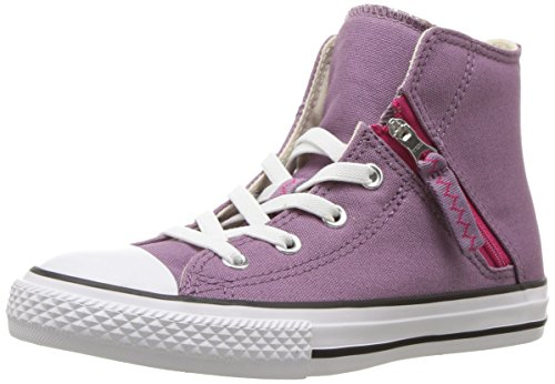 Converse Kids' Chuck Taylor All Star Pull-Zip High Top Sneaker, purple/multi, 13 M US Little -