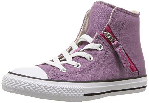 (Converse Kids' Chuck Taylor All Star Pull-Zip High Top Sneaker, purple/multi, 13 M US Little)