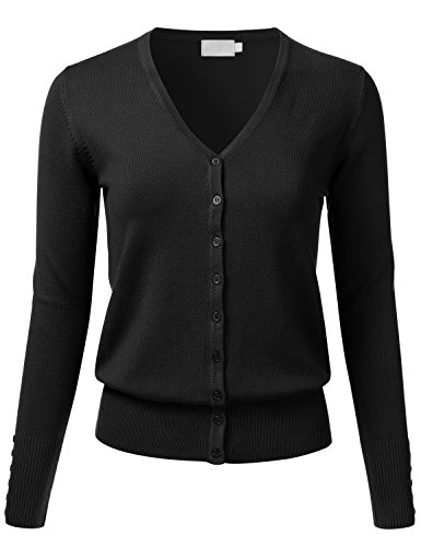 [FLORIA Women Button Down V-Neck Long Sleeve Soft Knit Cardigan Sweater BLACK S] (Long Sleeve Woven Sweater)
