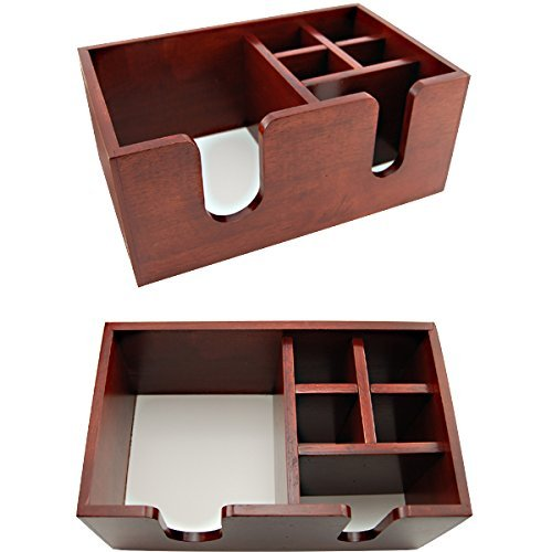 (Wooden Bar Top Napkin Straw Caddy - 6 Compartments - Brown Color)