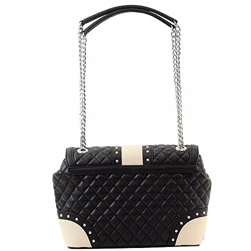 Love Moschino Women's Quilted & Studded Black Leather Flap Over Satchel Handbag by Love Moschino (Image #2)