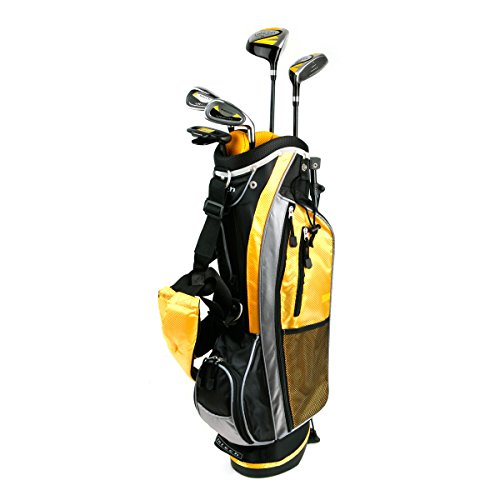 Intech Lancer Junior Golf Set, (Right-Handed, Age 4 to 7, 17.5 degree Driver, 4/5 Hybrid Iron, Wide Sole 7 and 9 irons, Junior Putter, Yellow, Deluxe Stand Bag)