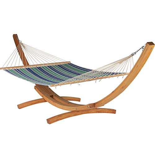 Quilted Hammock and Wood Arc Stand (Green Blue Stripe Hammock & Wood Arc Stand)