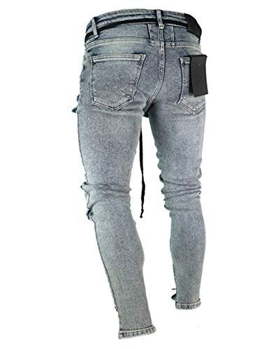 Jeans Especial Pantaloni Da Colour Elasticizzati Strappati Lunghi Di Distrutti Uomo Vintage Estilo Casual Moda YfqpF6