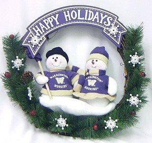 (Caseys 194604163 Washington Huskies 20 in. Team Snowman Wreath )