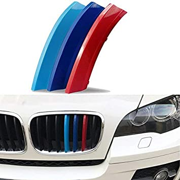 //////M-Colored Grille Insert Trims Decoration Cover Snap-on Type 3PCs BMW Grill Stripes for 2008-2013 BMW X5 E70 7 Beams