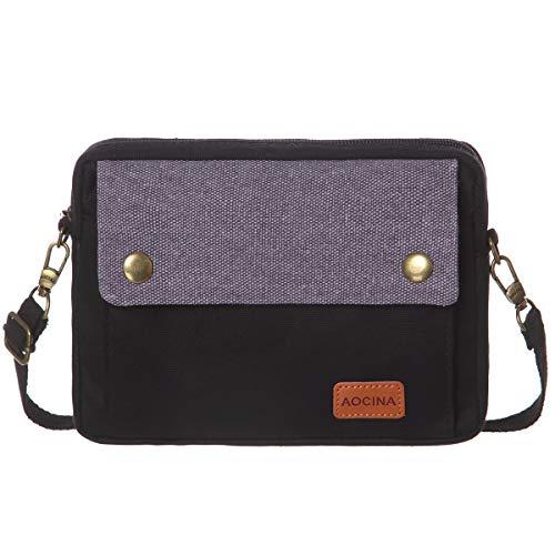 AOCINA Cell Phone Purse Wallet Canvas Big Pocket Women Small Crossbody Purse Bags (B-Black)