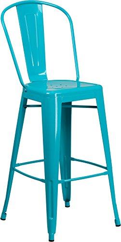 Emma + Oliver 30'' H Teal-Blue Metal Indoor-Outdoor Barstool with Back by Emma + Oliver