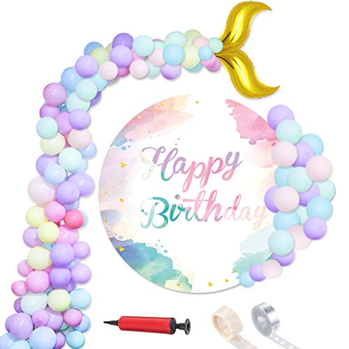 104 Pcs Mermaid Tail Balloons, Kicpot 12inch Latex Pastel Color Balloons Party Decorations for Wedding Mermaid Theme Party Pastel Birthday Balloons (Macaron Party Supplies)
