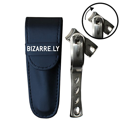 HIGHEST QUALITY Long Handle Toenail and Fingernail Clipper By Bizarre.ly with 360 Degree Rotating Swivel Head. Pedicure and Manicure Tool to EASILY Cut and Trim BOTH Normal and Ingrown Nails