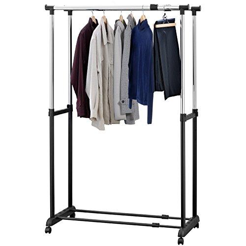 Modern Black Double Rail Expandable Rolling Garment Storage