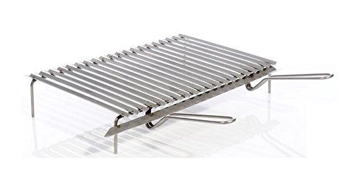 Graticola in acciaio inox da cm. 80 x 45 con sistema di recupero grassi