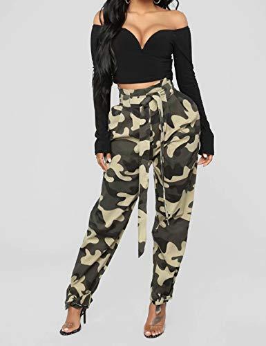 Vert Jogging Camouflage Élastique Grande Haute Tailles Taille Chino Des Avec De Femme Losse Pantalon Nouer Bretelles À a5BqwRzx