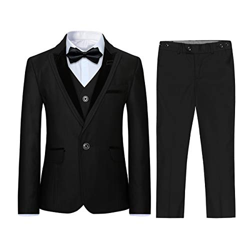 Boyland Boys 3 Pieces Formal Suits Classic Peak Lapel Slim Fit Tux Jacket Vest Pants Birthday Party Wedding Black (Formal Tuxedo Wedding Black Boy)