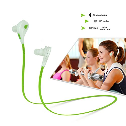 Oumers Universal Wireless Bluetooth 4.0 Headphones, Noise Cancelling Headphones Microphone, Stereo Music Bluetooth Earbuds Earphone, In-Ear Headset Wireless Headphone with Microphone, Can Call For iPhone 6 Plus 5 4 3, Samsung Galaxy S3, S4, S5, Note 6 4 3 2, LG , HTC, Motorola Ipad Ipod Android Samsung Galaxy Smart Phones All Bluetooth Devices Green&White