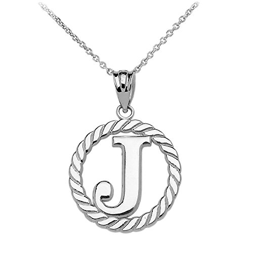 """Collier Femme Pendentif 14 Ct Or Blanc """"J"""" Initiale À Corde Cercle (Livré avec une 45cm Chaîne)"""