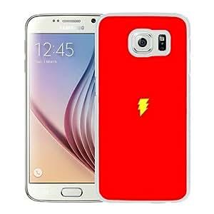 S6 Cover Case,Flash Comic Hero Minimal Red Art Logo White Personalized Cool Design Samsung Galaxy S6 Case