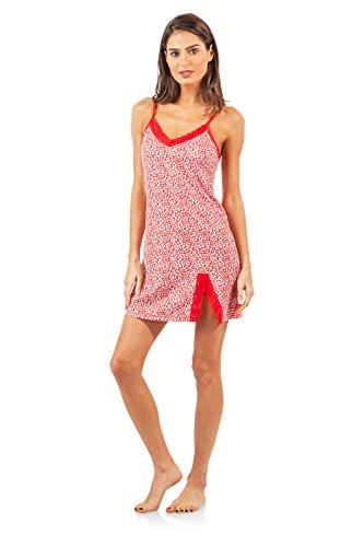 Animal Print Lace Trim (Casual Nights Women's Sleepwear Lace Trim Slip Camisole Nightie - Red Animal Print - Large)