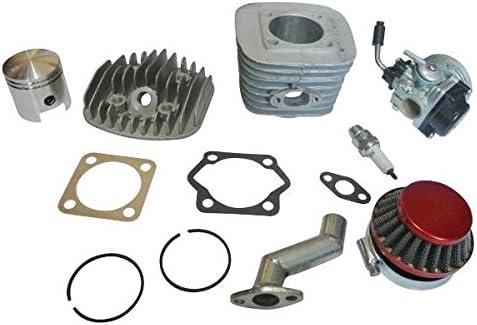 Kit de motor, 47 mm, cilindro, pistón, filtro y colector, junta de bujía para carburador para motor de gasolina de 2 tiempos, 80 cc, motor de bicicleta: Amazon.es: Coche y moto