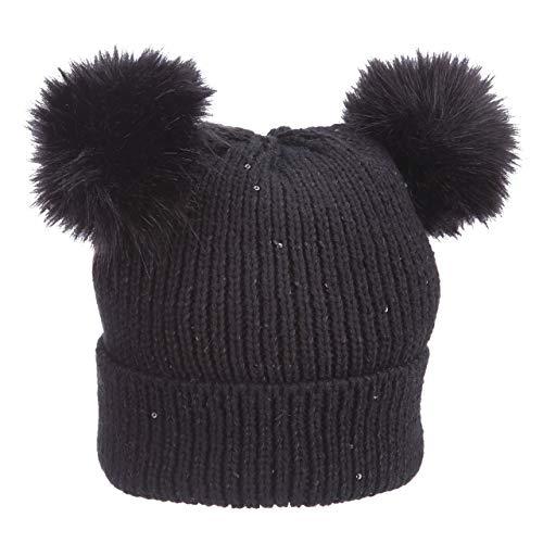 Pronto Cuff Cap Sexy Sequins Faux Poms Ears Winter Warm (LK189) (Black)