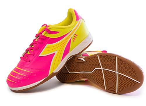 Diadora Kids' Cattura ID JR Indoor Soccer Shoes (12 Little Kid, Neon Pink/Neon Yellow)