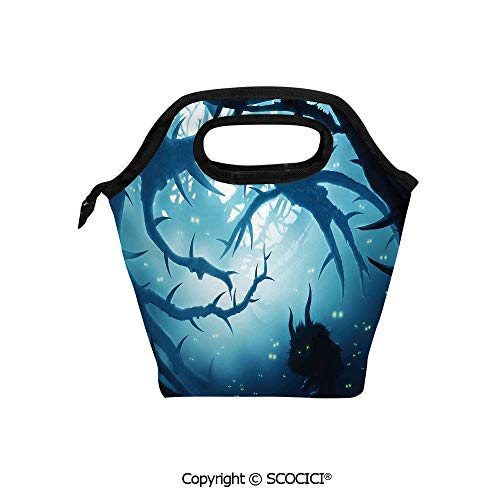 Reusable Insulated Lunch Bags with Pocket Animal with Burning Eyes in Dark Forest at Night Horror Halloween Illustration for Adults Kids Boys Girls. -