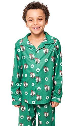 NBA Boston Celtics Boys Pajamas Sleepwear 2 Piece Pjs Lounge Flannel Set, Kelly Green, ()