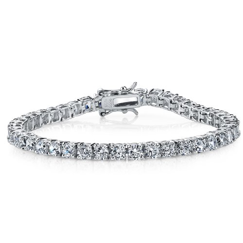 (Sterling Silver and Round-Cut Cubic Zirconia Eternity Tennis Bracelet, 10 TCW 4mm 7.25
