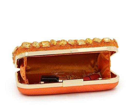 sac sac à à Cocktail femmes soirée Orange Strass Sacs Party Crossbody main les Embrayages de pour Superbes main d'embrayage qgCZPSwana