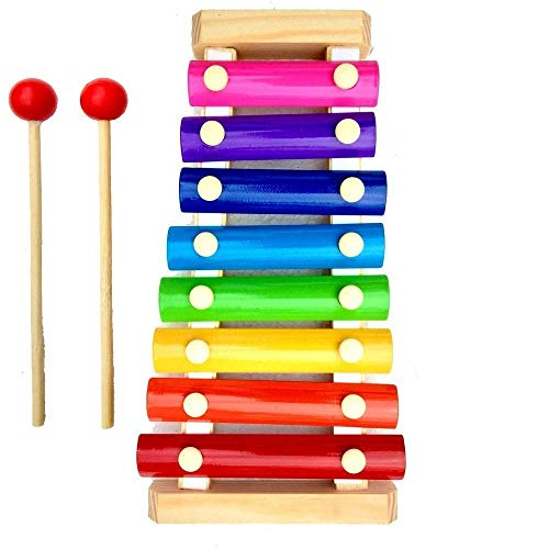 Chanson Toys Wooden Xylophone Musical Toy for Children with 8 Note (Big Size)- Multi Color High Quality Non-Toxic Made and Designed in India