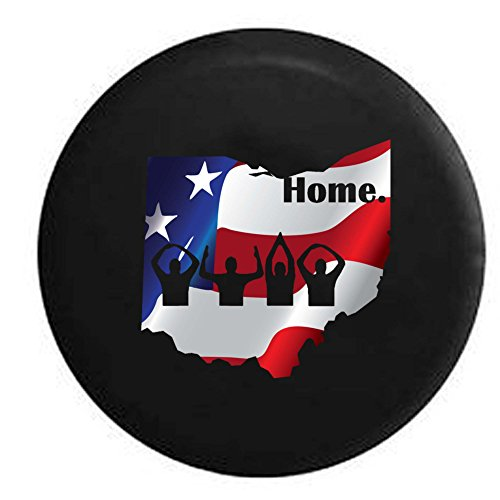 (Pike Flag - Ohio Home State Edition RV Spare Tire Cover OEM Vinyl Black 27.5 in)
