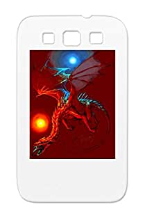 Orbs Fantasy Art Red Blue Dragon Lights Flying Design Angry Black For Sumsang Galaxy S3 Case