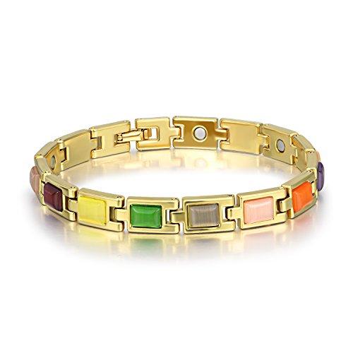 C&Y JEWELRY WINNICACA Magnetic Copper Bracelets Multicolored Opal Bangle Bracelets for Women Men -