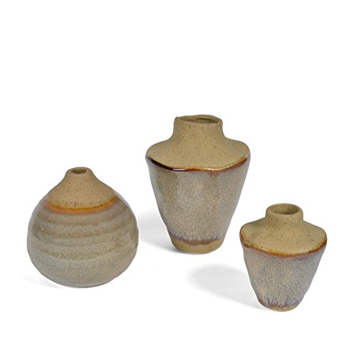 ive Glaze Small Stoneware Vases, Set of 3 (Glaze Pottery Vase)