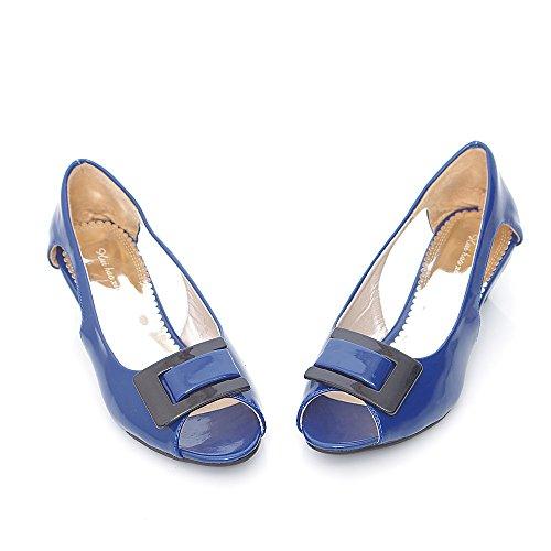 Verano Sandalias Al El De Blue amp;x Talón Zapatos Mujer La Bajo Pescado Qin Tobillo Boca x8v7Hnn