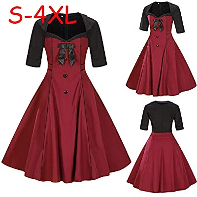Dresses for Womens, FORUU Ladies Plus Size Short Sleeve Vintage Dress Button Bow Retro Flare Dress
