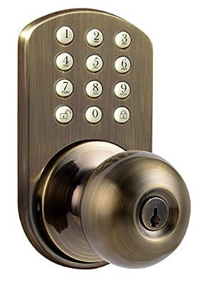 MiLocks TKK-02AQ Digital Door Knob Lock with Electronic Keypad for Interior Doors, Antique Brass