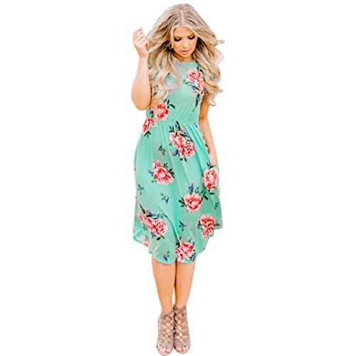 ShenPr Women Casual Rose Flower Print Dress Round Neck Slim Waist Beach Dress (M, Green)