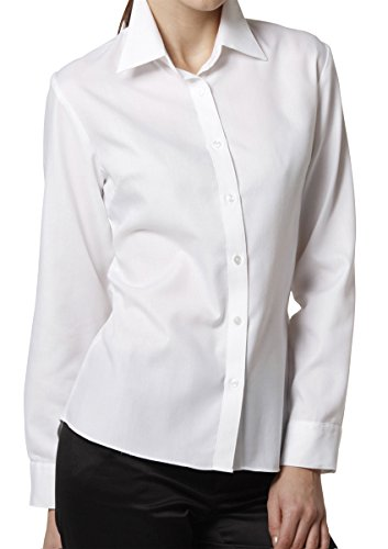 LEONIS Women's Easy Care Soft Oxford Dobby Long Sleeve Shirt White (XXS [0]) [ 34646 ]