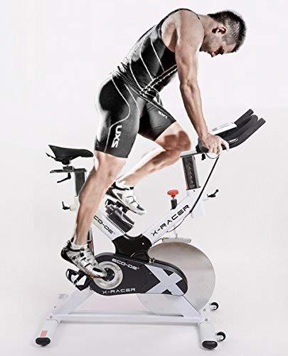 ECO-DE Spinning-Rad X-RACER. Indoor. 18 Kg Schwungrad. Bedienfeld mit LCD-Display. Handpulssensoren. Trinkflasche. Regulierbarer Widerstand. Verstellbar.