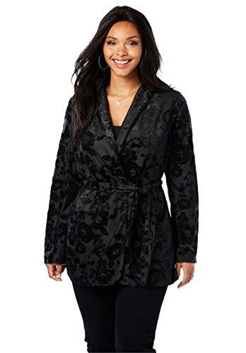 (Roamans Women's Plus Size Belted Velvet Blazer with Burnout Pattern - Black, 18/20)