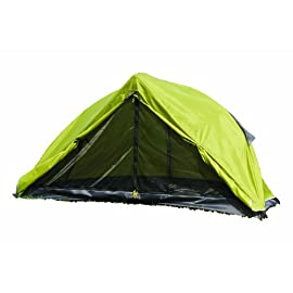 """First Gear - Cliff Hanger - Solo Tent 89 Sleeps 1 - 6'7"""" x 2'5"""" x3'7"""" Taped fly and floor seams Full coverage fly completely surrounds the tent"""