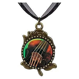 Chicforest Bronze Retro Style Violin String Music Rose Flower Pendant