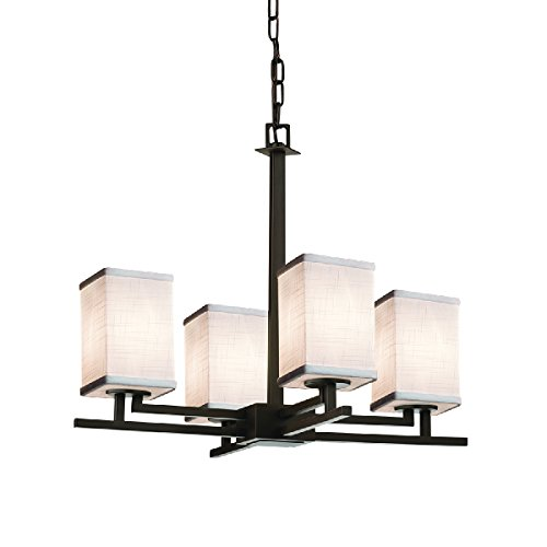 Flat Rim Chandelier - Justice Design Group Lighting FAB-8700-15-WHTE-DBRZ-LED4-2800 Textile-Aero 4-Light Chandelier-Square with Flat Rim Shade-White-LED, Dark Bronze