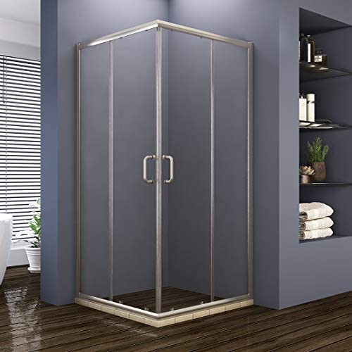 ELEGANT 36 D. x 36 W. x 72 H. 2 Opening Sliding Shower Enclosure, 2 Stationary Panels Shower Clear Glass Shower Doors, Brushed Nickel Finish