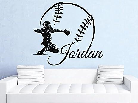 Amazoncom Wall Decals Custom Personalized Name Decal Baseball - Custom vinyl wall decal equipment