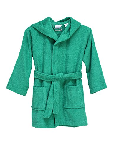 (TowelSelections Big Boys' Robe, Kids Hooded Cotton Terry Bathrobe Cover-up Size 14 Simply Green)
