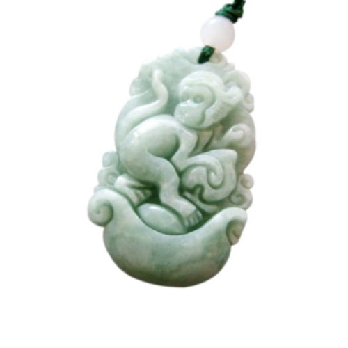 Jadeite Jade Chinese Zodiac Fortune Monkey Amulet Pendant