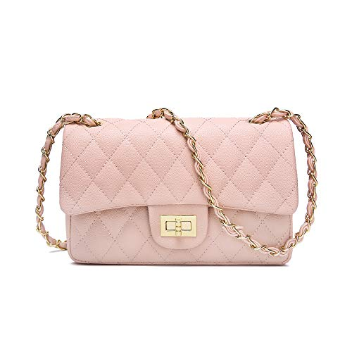 Leather for Pink Quilted Purse Bag Chain Shoulder Jollque Caviar Crossbody Medium Women HYwqyC5