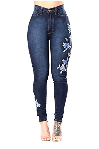 Yayu Womens Stretch Embroidered Denim Pants Bodycon Jeggings Jeans Dark Blue 2XL